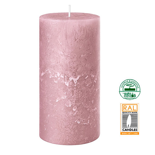 Rustic light pink candle 7 x 14cm