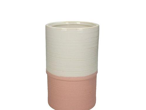 Vase fine earthware pink 13x13x20cm