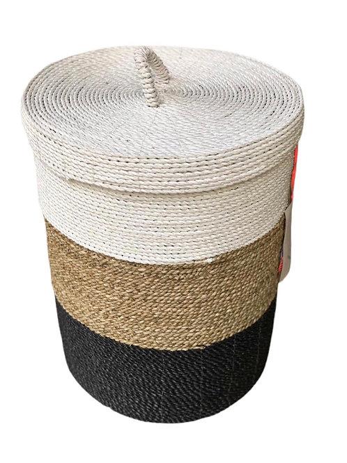 Malang - Storage basket with lid Natural / White / Black medium