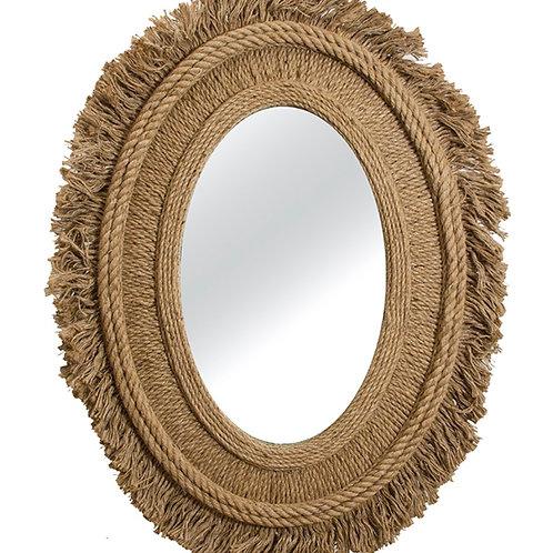 Hemp rope/metal wall mirror 76x100 cm