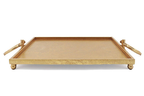 SQUARE TRAY ON FOOT W/HANDLES, ANT. GOLD,45X45CM