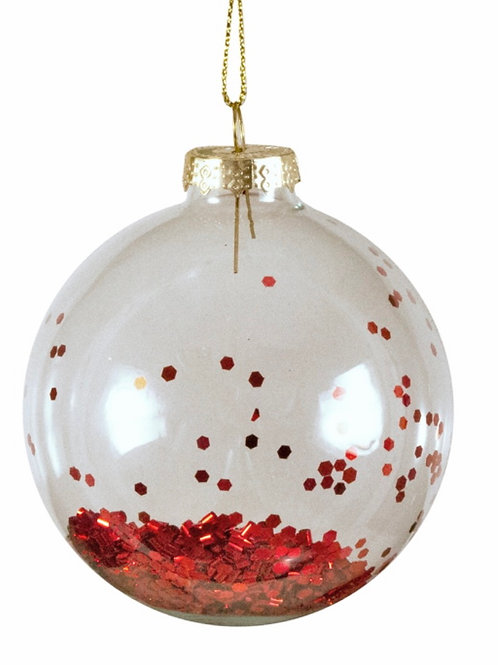 Xmas glass ball with glitters red 8cm