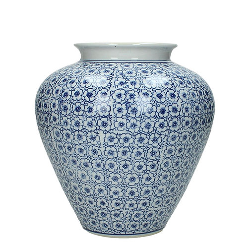 Blue ceramic vintage vase flowers