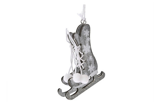 Xmas hanging wooden ice skate shoes 9X8cm