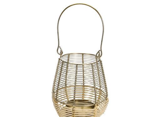 Lantern rattan on botton&iron on top  14x18cm