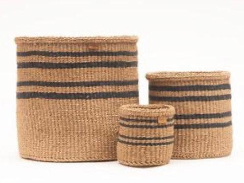 LAINI: Thin Stripe Charcoal Black & Natural Woven Storage Basket S