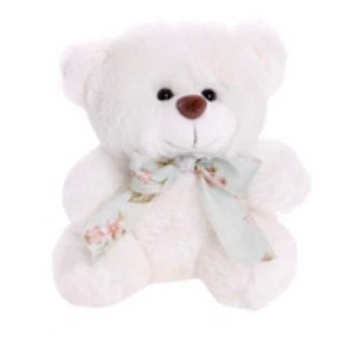 White teddy bear with foral ribbon 18 cm
