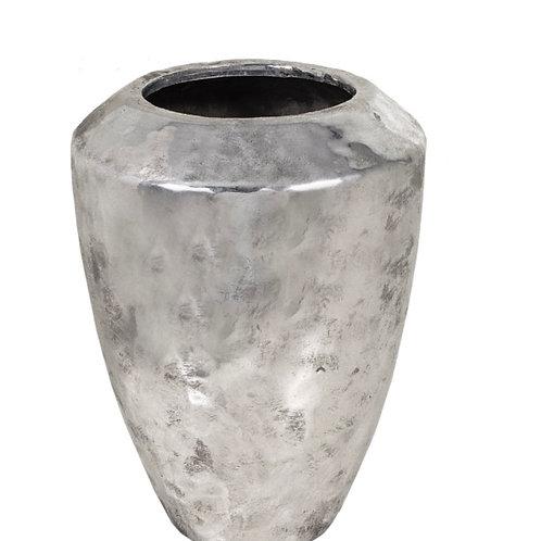 Ceramic vase, hammered finish, silver  34.5cm
