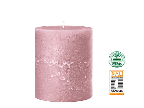 Rustic light pink candle 7x8cm