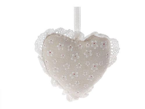 Fabric heart hanging deco 11X10 cm