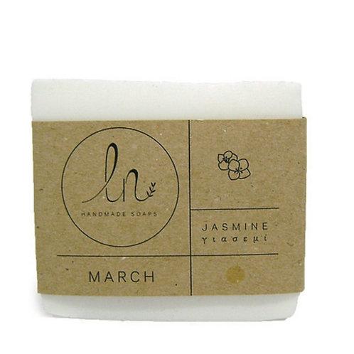 March. The Jasmine soap. Natural glycerine soap. Around 110g.