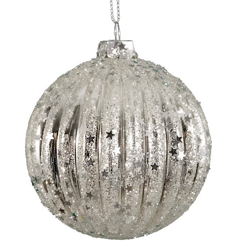 Ribbed ball silver 8cm