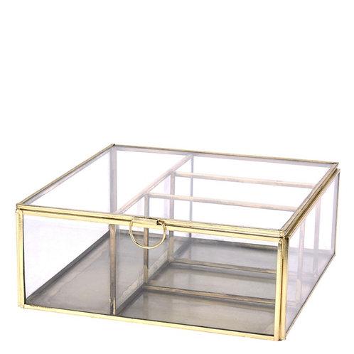 JEWELRY BOX,GLASS W/METAL FRAME,20X20X8CM