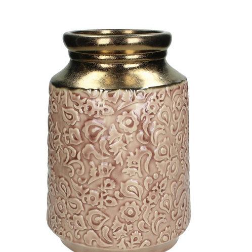 Ceramic vase antique gold / dusty pink 18 x 26 cm