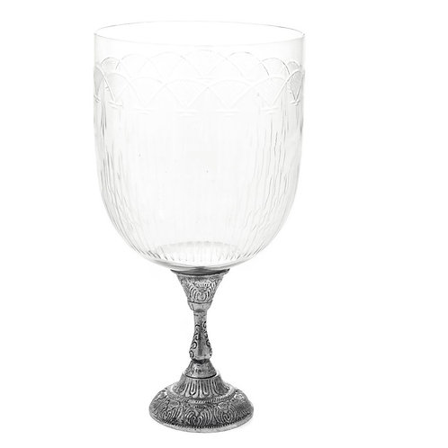 Glass candle  holder silver metal