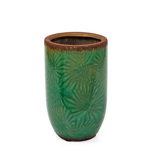 Ceramic glazed vase, palm leaf design, green,20cm