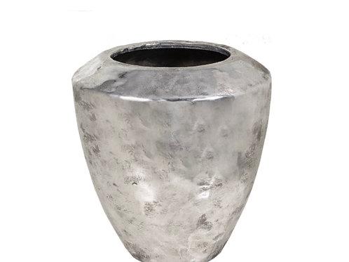 Ceramic vase  hammered finish, silver 22cm