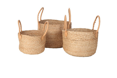 Yoshiko. Ashulia jute basket with leather handle small