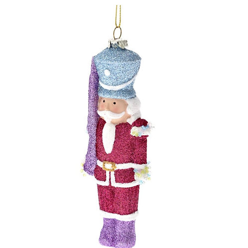 Xmas hanging soldier ornament 15cm with glitter