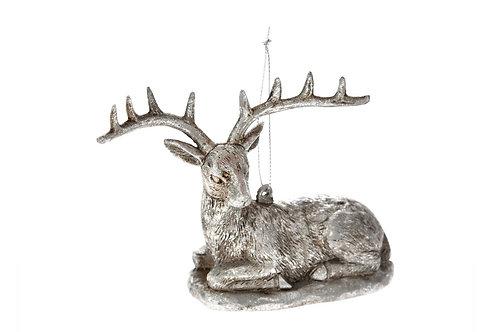 Xmas hanging silver deer 10cm ornament