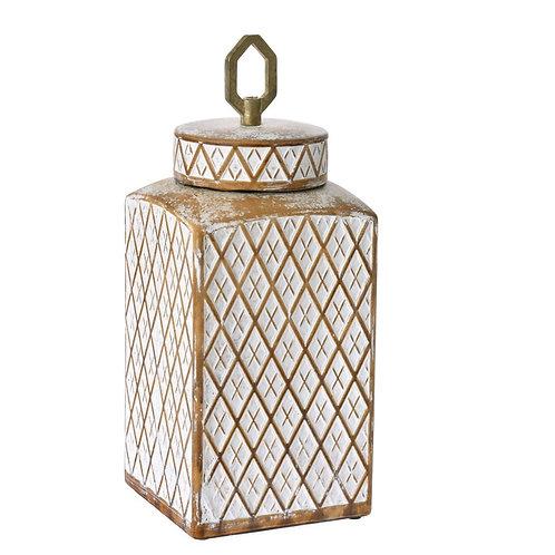 Ceramic deco vase with lid