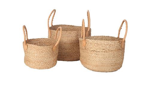 Yoshiko. Ashulia. Jute basket with leather handle medium