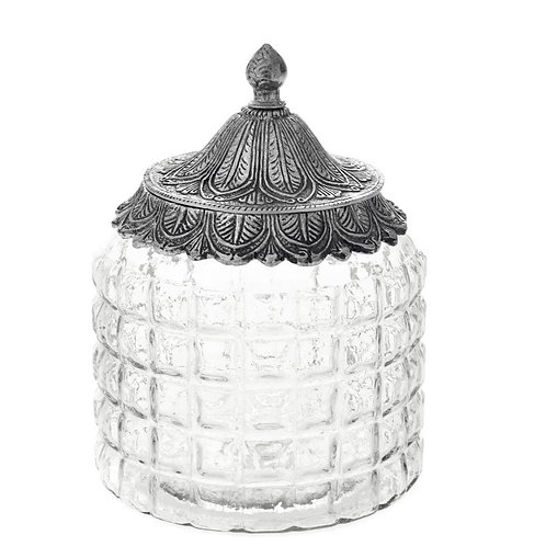 Glass jar with metal  lid silver