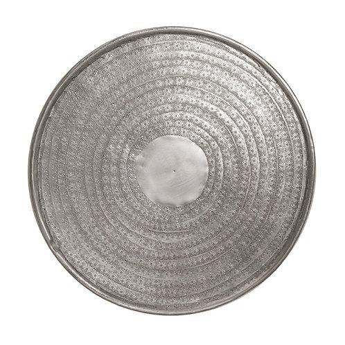Aluminium tray flower design mat silver 47cm