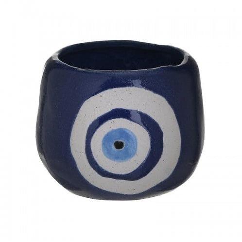 CERAMIC PLANTER EYE WHITE/BLUE Φ12,5Χ11
