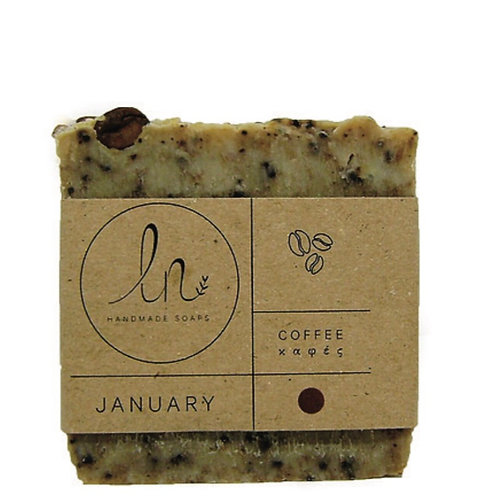 January. The coffee soap - Olive oil soap. Around 110g.