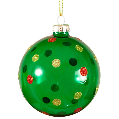 Ball green,& colorful dots ,8cm