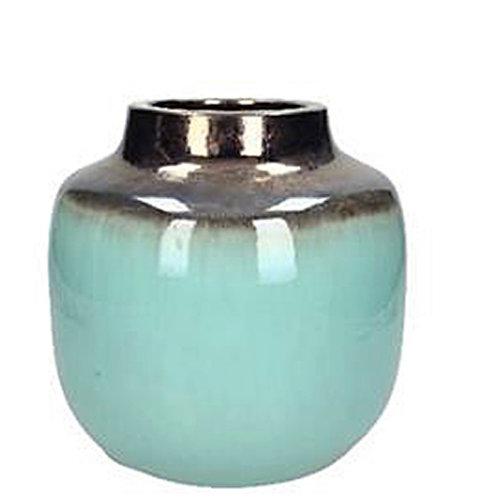 Vase ceramic blue mint  22X22X20cm