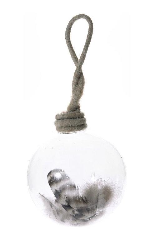 Xmas deco glass ball 10cm with feathe