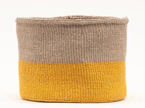 S  GHAFLA: Yellow & Grey Duo Colour Block Woven Basket