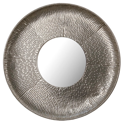 Round wall mirror happered frame, ant.silver D.62,5CM
