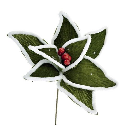 Christmas poinsetia flower pick 30cm velvet