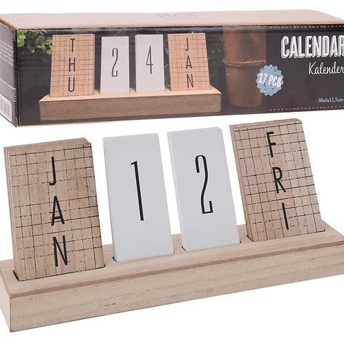 Calendar wood 30 x 6 x 12,50