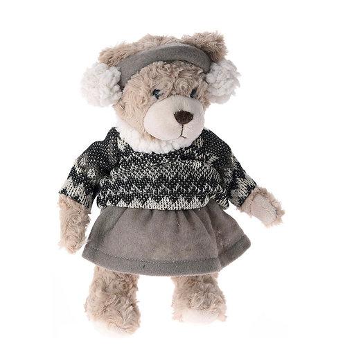Xmas deco plush bear brown-grey 30 cm
