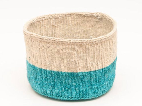LAZIMA: Turquoise Colour Block Woven Basket