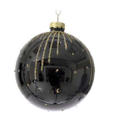 Xmas glass ball black&gold  8cm