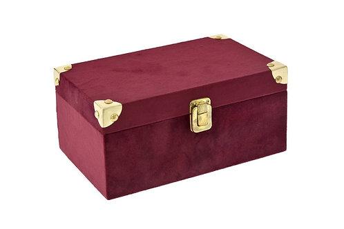 Burgundy velvet box 23X14X11cm