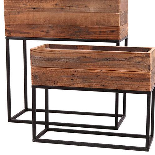 Wood metal base pot 55x21x60,5cm