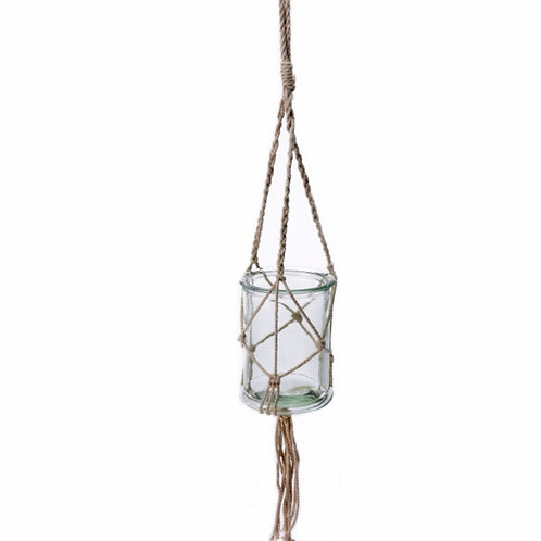 Hanging glass pot on white rope  12,5X17cm