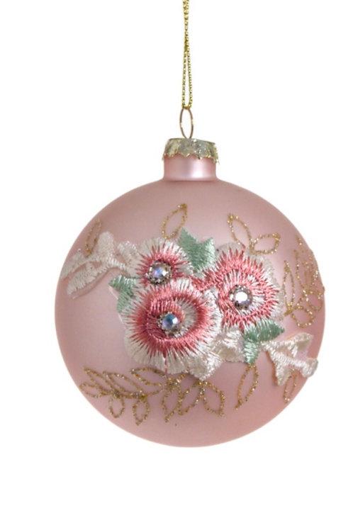 Γυάλινη μπάλλα με υφασμάτινο λουλούδι  10cm