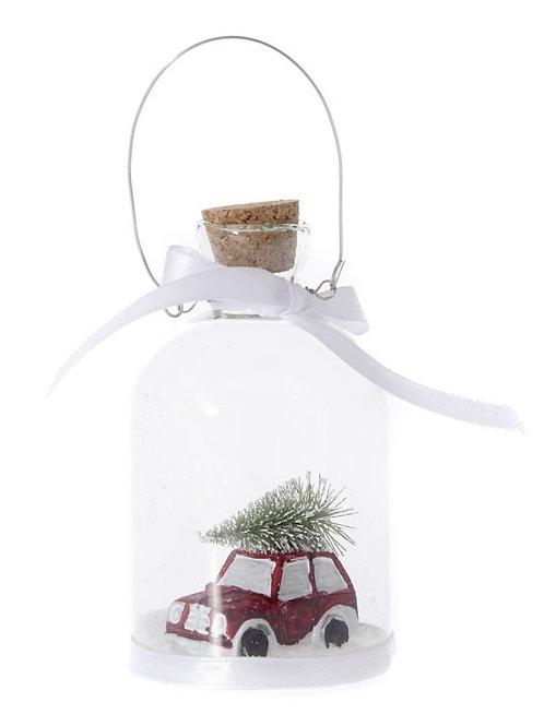 Christmas glass bottle ornament 6x11cm