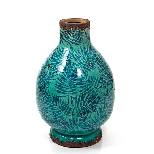 Ceramic glazed vase w/areca leaf petrol/blue,30cm