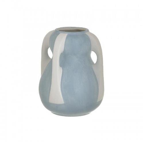 CERAMIC VASE WHITE/LT BLUE Φ16Χ20