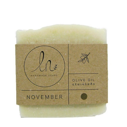 November. Olive oil. Olive oil soap. Around 110g