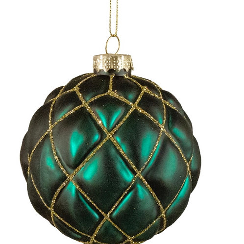 Glass ball green with gold glitter, 8cm