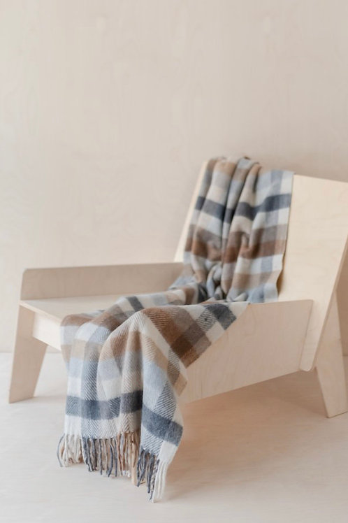 Recycled Wool Knee Blanket in Neutral Check